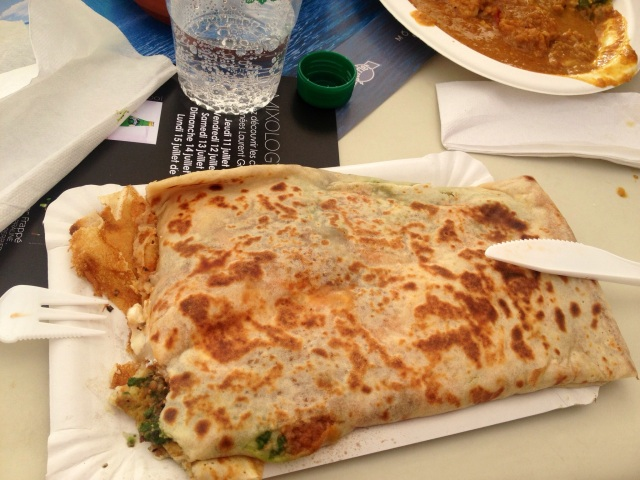 Crepe with goats cheese, aubergine and spinach
