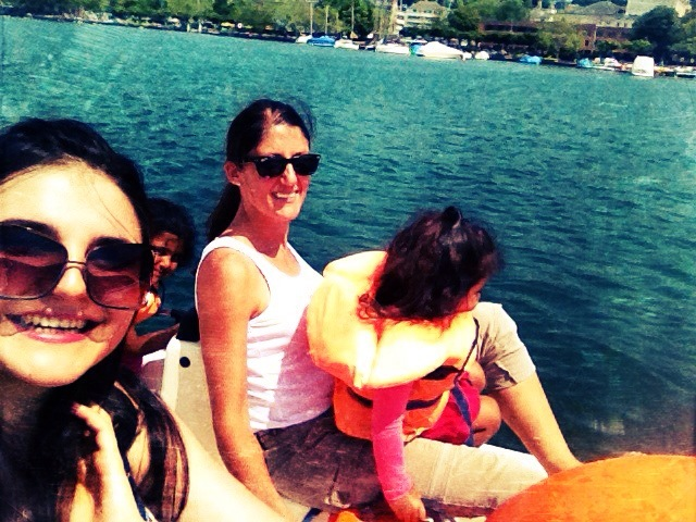 The family on a Pedalo